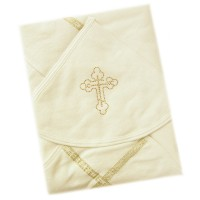 Крестильное полотенце с золотистой отделкой № 0149