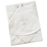 Крестильное полотенце с серебристой отделкой № 0149