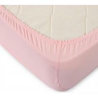 Трикотажная простынь на резинке розовая